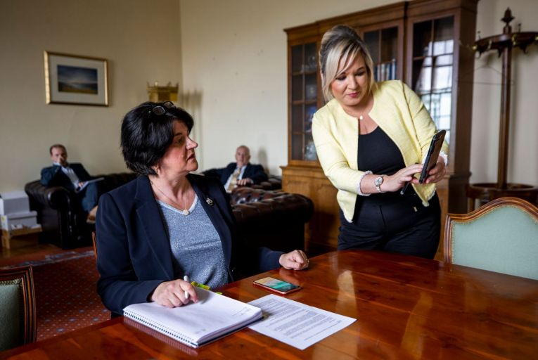 Northern Ireland's First Minister Arlene Foster and Deputy First Minister Michelle O'Neill: even the most dedicated Arlene Foster watcher might be surprised to learn that the First Minister relaxes by playing Backstreet Boys songs on her laptop