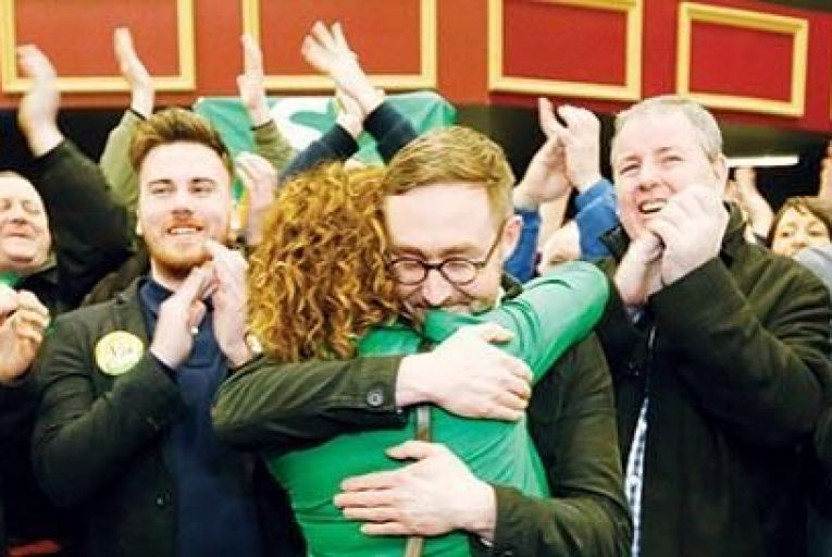 Sinn Féin's Eoin Ó Broin with supporters after his win in Dublin Mid West RollingNews