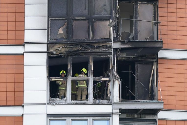 Damage caused by a fire at Ballymore's New Providence Wharf building in London. The building's cladding was ruled out as a factor in the blaze.  Picture: PA