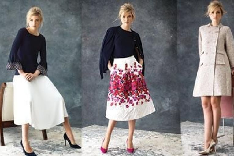 From Left: Alannah navy jersey top with fluted pearl cuff  and Carine white jersey skirt, centre, Rosette pink and red embossed rose print silk skirt; Justine navy knit and Philippa navy sweats and right Charlotte double breasted coat in blossom gold brocade