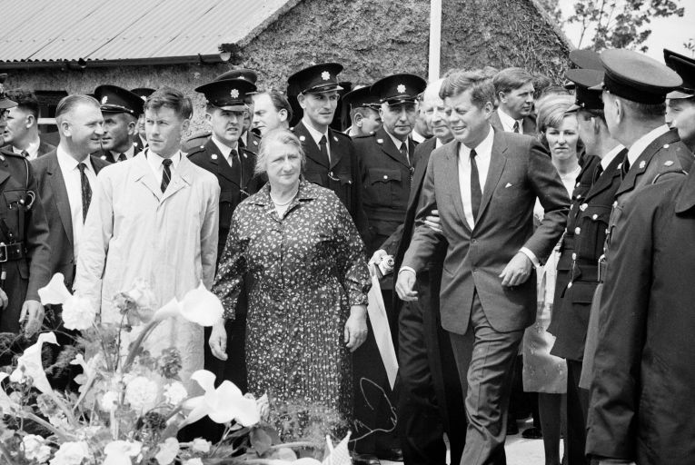John F Kennedy during a visit to New Ross, his ancestral hometown, in Co Wexford in 1963. Photo: Getty