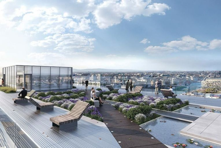 Computer generated image of the eighth floor roof garden of the  Exo Building, set to be Dublin's tallest office building