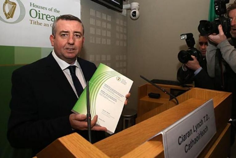 Chairman of the Banking Inquiry Ciaran Lynch with its final report published last month.  Picture: RollingNews.ie