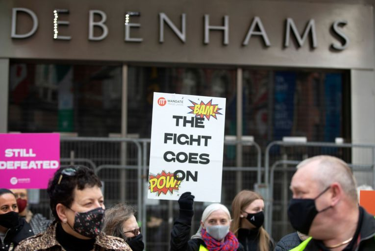 Debenhams placed its Irish arm into liquidation in April 2020 and hundreds of former workers have been picketing since then to enforce redundancy terms they had negotiated with the company. Picture: Rollingnews.ie