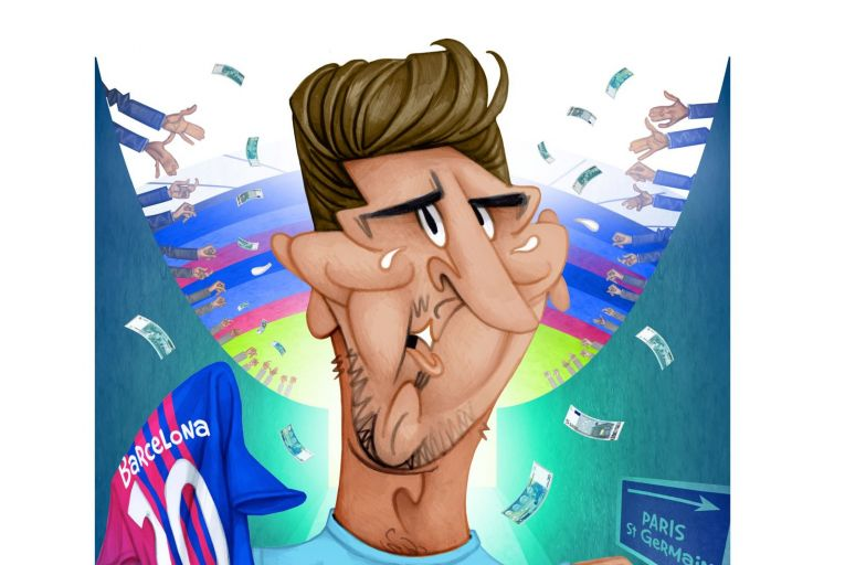 Lionel Messi's move from Barcelona to Paris St-Germain has stunned the world of football. Illustration: Peter Hanan