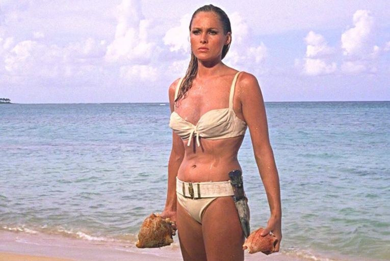 The emergence of Ursula Andress from the water in the first James Bond film, Dr No, signalled the rise of the bikini