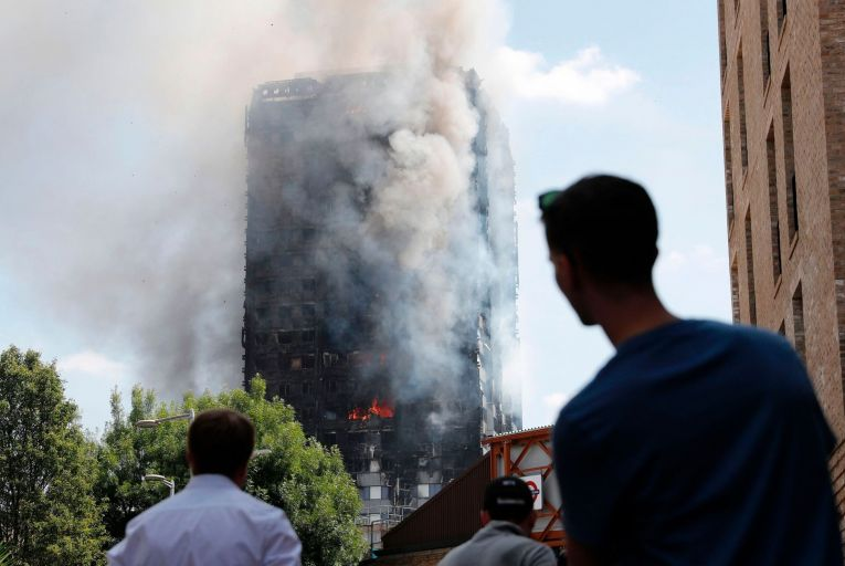 Fire raged through the Grenfell Tower residential block, in Kensington, west London, on June 14, 2017, resulting in the deaths of 72 people. Picture: Getty