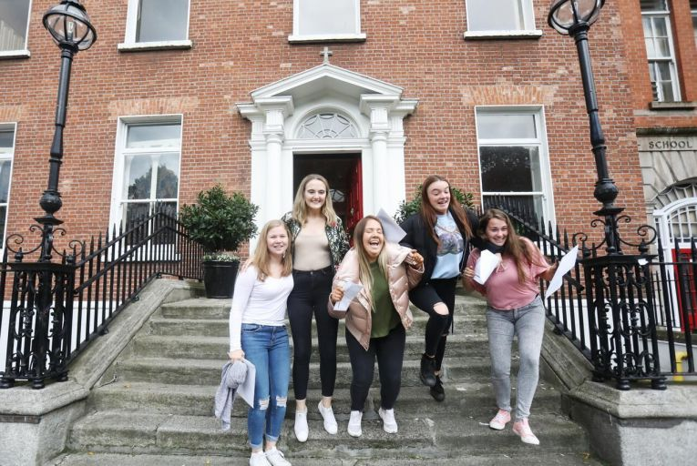 Leaving Cert students after they received their results inLoreto Collegein Dublin. Pic: RollingNews.ie e