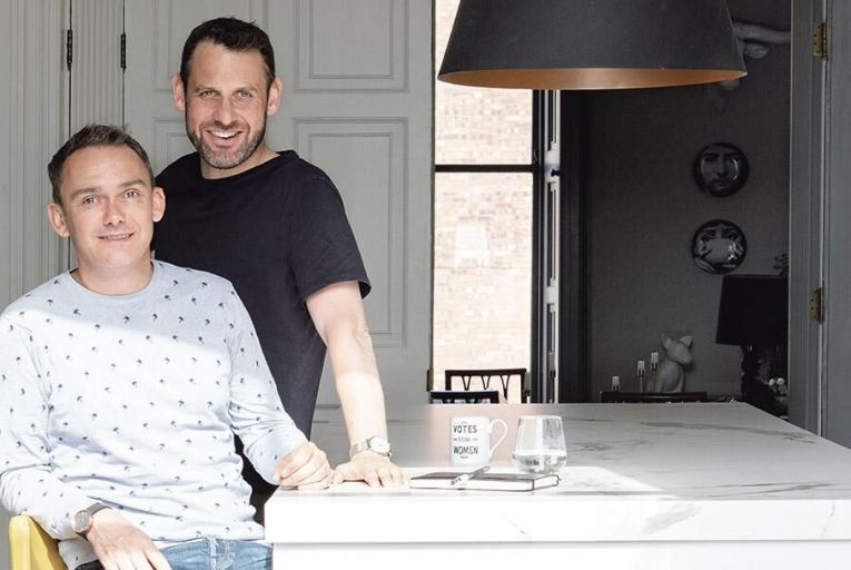 Colm Doyle and Peter O'Reilly in the kitchen of their house on Camden Street in Dublin