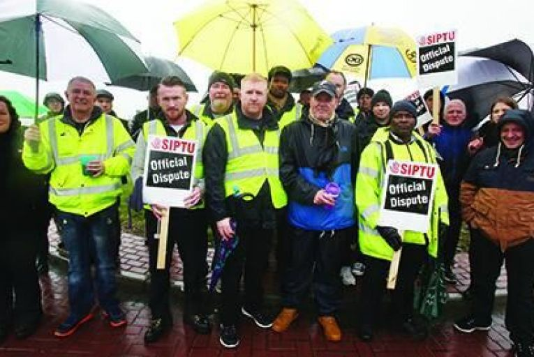 Tram workers form a picket at the Red Cow Luas depotPic:rollingnews.ie
