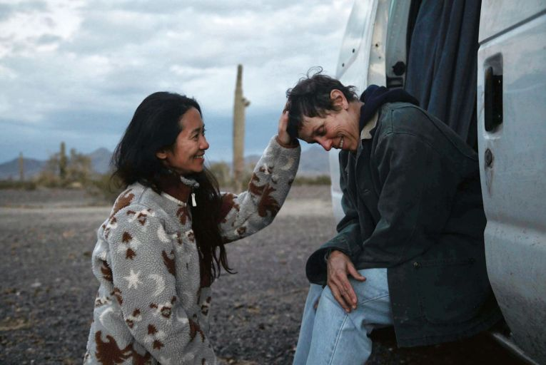 Chloé Zhao and Frances McDormand in Nomadland: the first film directed by a woman to win Best Picture at the Golden Globes. Picture: Joshua James Richards