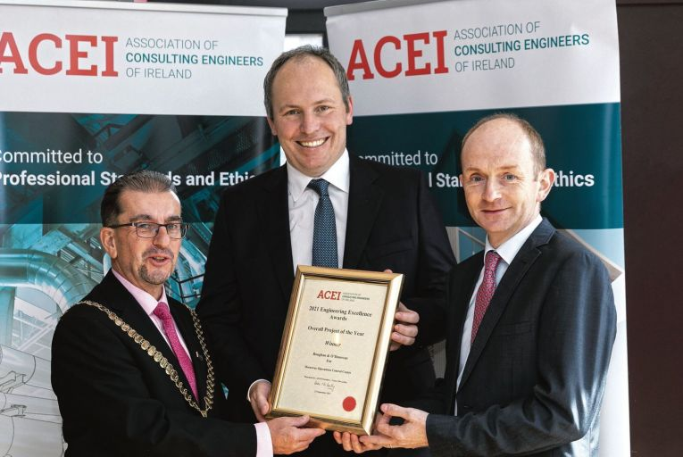 Conor McCarthy, ACEI with Lewis Feely, ROD and Andrew O'Sullivan, TII. Project of the Year Winner: Roughan & O'Donovan for Motorway Operations Control Centre Guy Robbins
