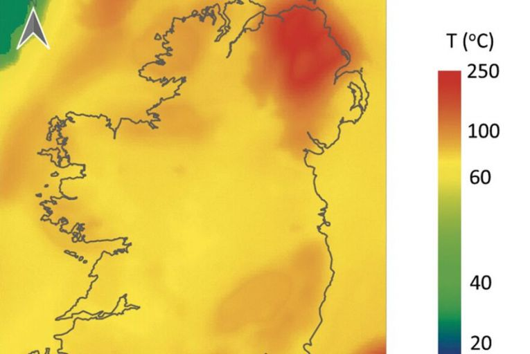Slice of the expected temperatures at a depth of 2.5 kilometres beneath Ireland. Image created from temperature data supplied by the Dublin Institute for Advanced Studies