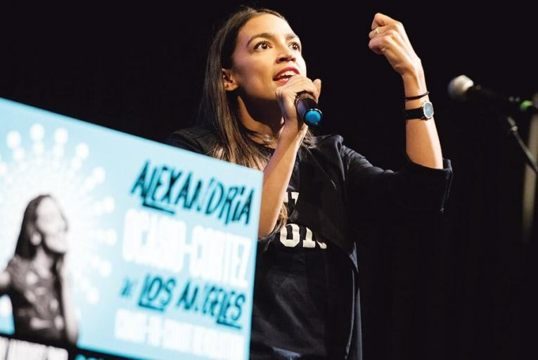 Alexandria Ocasio-Cortez at a fundraiser in Los Angeles last week: the 28-year-old is poised to become the youngest ever woman elected to the US Congress Pic; PA