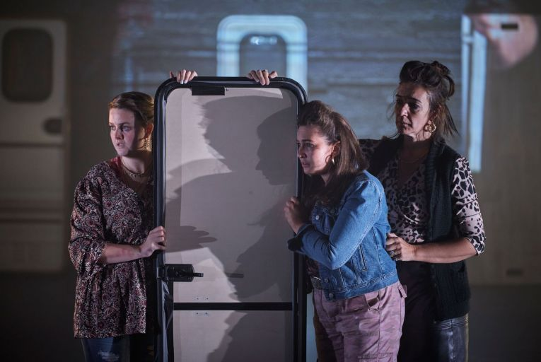 Ericka Roe, Hazel Clifford and Hilda Fay in Rosaleen McDonagh's Walls and Windows at the Abbey Theatre, directed by Jason Byrne. Picture: Ros Kavanagh