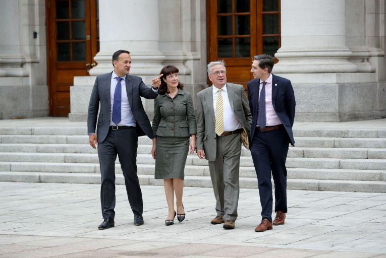 Tánaiste Leo Varadkar, Laura Magahy andTom Keane, both of whom resigned from Sláintecare and former health minister Simon Harris. Picture: Maxwells