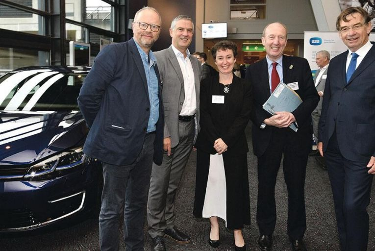 From left: Robert Llewellyn, actor, comedian and producer of \'Fully Charged\'; Paul Mulvaney, executive director innovation, ESB; Josey Wardle, infrastructure manager, Zero Carbon Futures, UK; Shane Ross, Minister for Transport, Tourism and Sport; and Frank G Rieck, research professor, Future Mobility, Rotterdam University and vice-president, the European Association for Battery, Hybrid and Fuel Cell Electric Vehicles (AVERE)                  Pictures: Maura Hickey