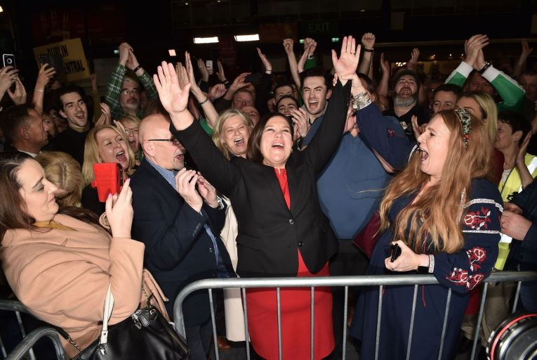 Mary Lou McDonald, Sinn Féin leader, celebrates last February after her party won the most votes in the general election but not the highest number of seats. Photo: Charles McQuillan/Getty