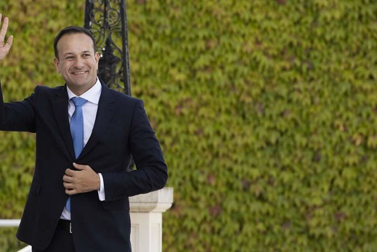 Varadkar arriving at Áras an Uachtaráin to receive his Seal of Office Pic: RollingNews.ie