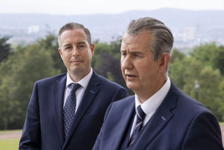 DUP leader Edwin Poots (right) during a press conference at Stormont with First Minister designate Paul Givan. Picture: PA