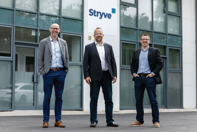Stryve chief executive officer Andrew Tobin with Gunter Bayer, chief information officer, and Paul Delahunty, chief Security Officer, at their Carlow headquarters Picture: Dylan Vaughan