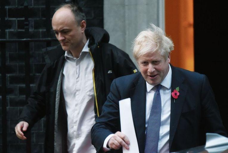Dominic Cummings, left, former advisor to British Prime Minister Boris Johnson, right: Cummings' publishing of private messages between the pair about Health Secretary Matt Hancock has plunged UK politics into crisis