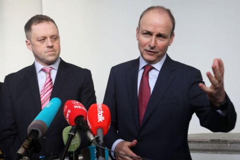 Micheál Martin is joined by Thomas Byrne as he addresses the media after today's meeting with Leo Varadkar. Picture: Rollingnews.ie
