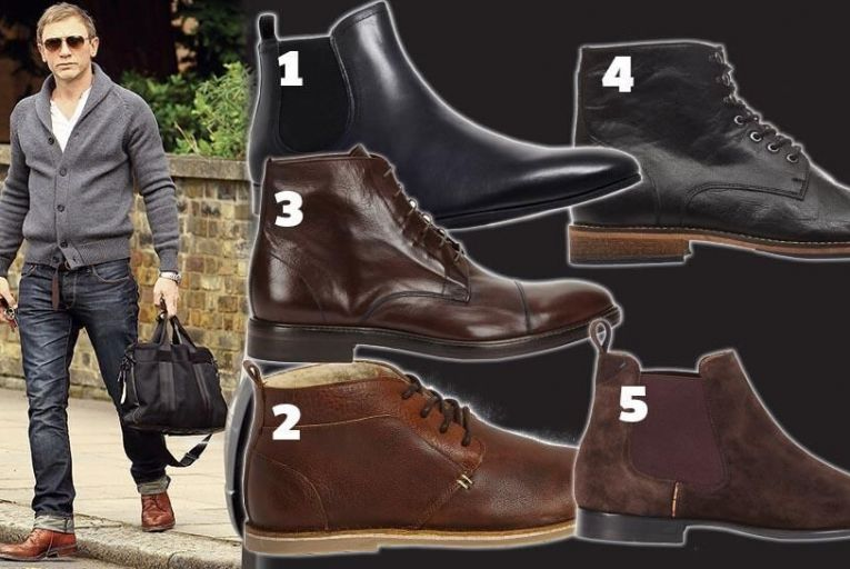 Daniel Craig looks casually smart in a pair of brown boots and from top left (1) black chelsea boot KG by Kurt Geiger; (2) casual boot by River Island; (3) brown leather boot by Paul Smith; (4) black laced boot by KG by Kurt Geiger; (5) suede boot by Paul Smith