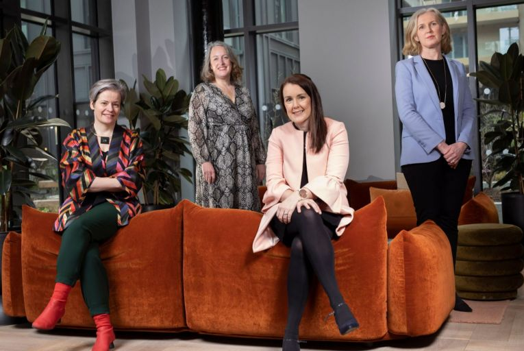 From left: Nathalie Weadick, founder of Irish Architecture Foundation, Eloise Heron, chartered valuation surveyor and sustainability consultant, Aisling Tannam, director at offices at Cushman & Wakefield, and Michele Jackson, co-founder and director of TWM. Picture: Fergal Phillips