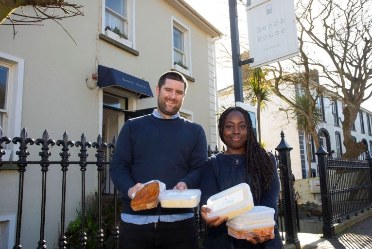 Peter Hogan and Jumoke Akintola of Beach House Restaurant, Tramore in Co Waterford, with some of their dishes for delivery. Picture: Mary Browne