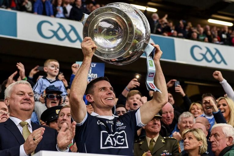 Stephen Cluxton lifts the Sam Maguire last year. He will hope to repeat it today Pic: Getty
