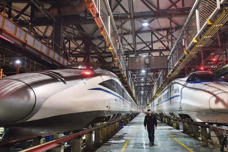 China used to import its  trains from Germany, but now  designs and makes its own Photo: Visual China Group  via Getty Images
