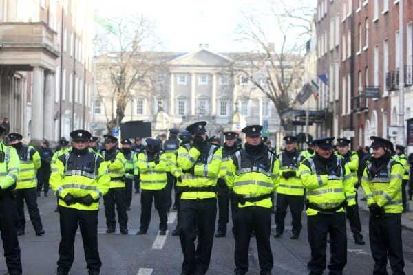 Gardai line the streets around Leinster House