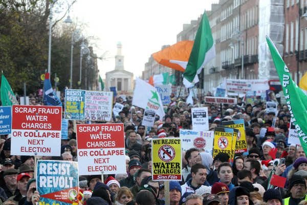 The designated section for protesters in Merrion Street was full to bursting.