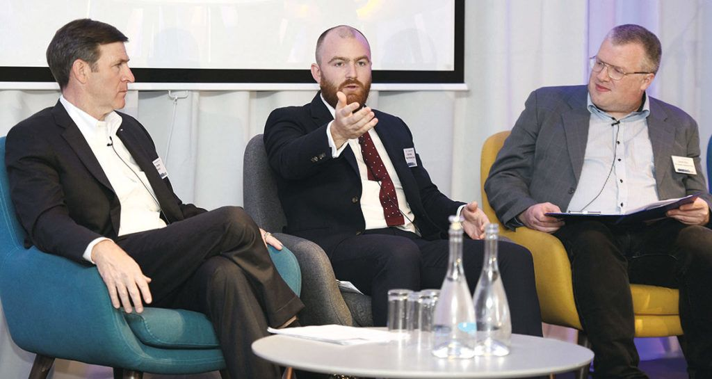 At a group panel discussion at CIF DigCon were Chris Toomey, vice-president major projects, McKinsey, Boston, USA; Chris Emery, senior manager for vertical construction, Topcon Positioning Group; and Emmet Ryan, editor, Connected, The Sunday Business Post