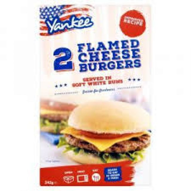 Yankee 2 Flamed Grilled Cheese Burgers In Bun 228g