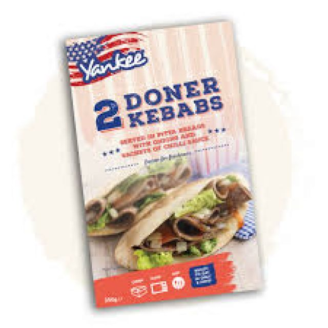 Yankee 2 Donner Kebabs In Pitta Bread 350g