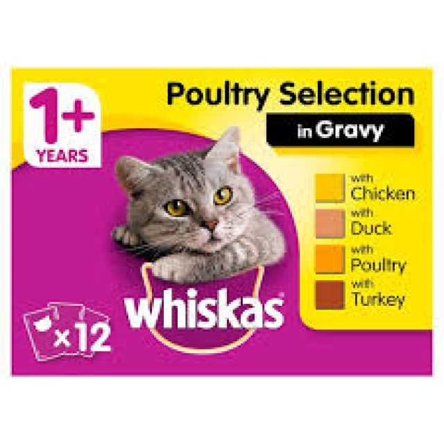 Whiskas Pouches Poultry Selection In Gravy 12x100g
