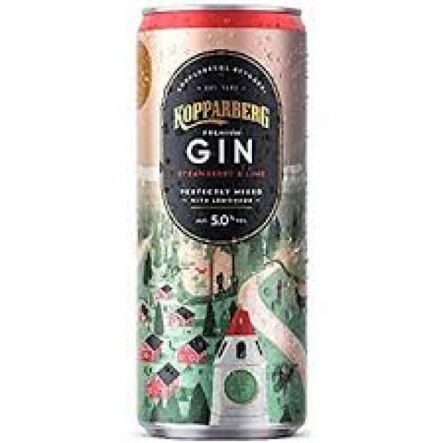 Kopparberg Premium Gin Strawberry & Gin Perfectly Mixed With Lemonade 250ml 1 Can