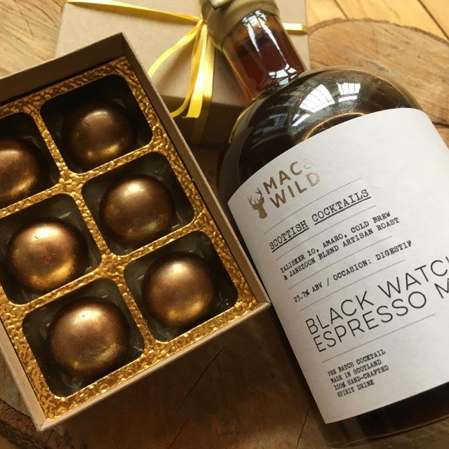 Cocktails And Truffles.   Mac & Wild Scottish Cocktails Black Watch Espresso Martini With Honey Centred Chocolate Truffles