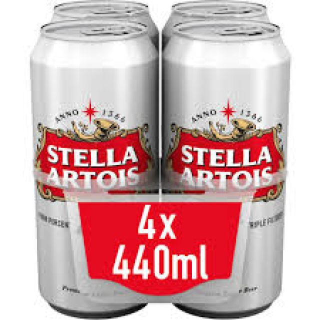 Stella Artois 4% Triple Filtered 4 Cans x 440ml