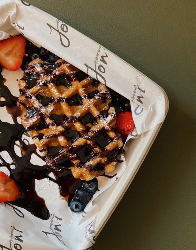 Chocolate & Strawberry Waffle Stack