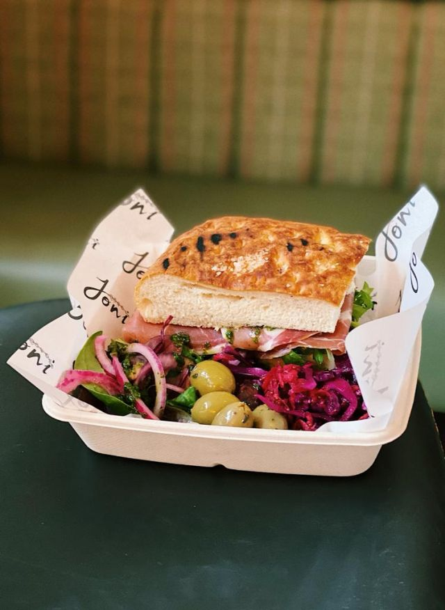 Grilled Goats Cheese and Pesto Focaccia Sandwich