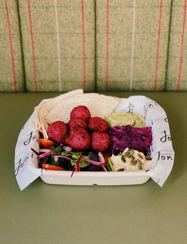 Beetroot Falafel Salad with Flatbread