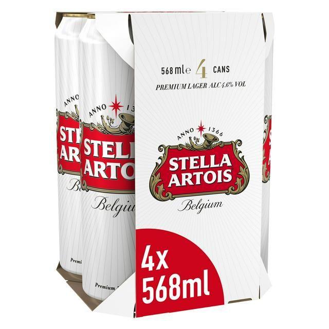 Stella Artois Lager cans 4 * 568ml