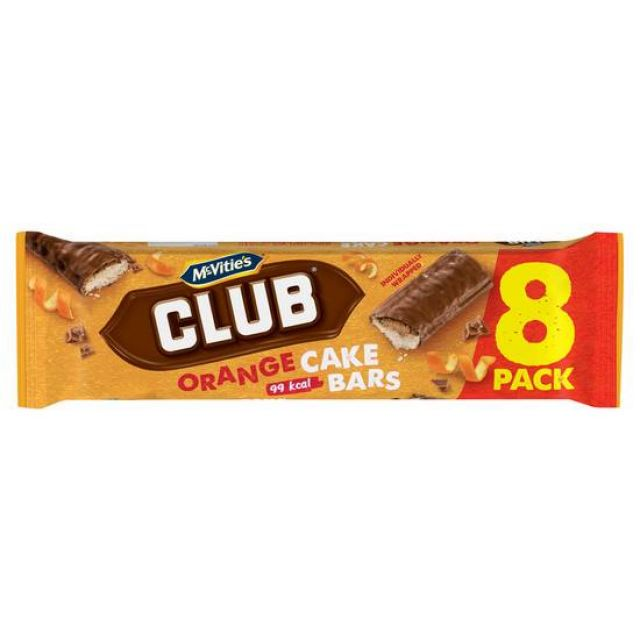 McVities Club Chocolate Orange Cake 8 Bars
