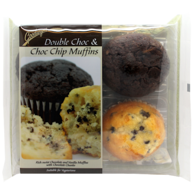 Goodwyns Double Choc & Choc Chip Muffins 4pack