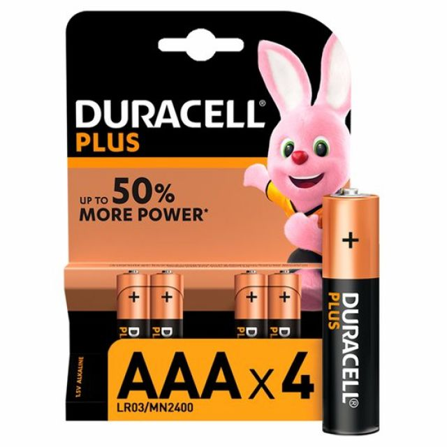 Duracell Plus AAA Batteries 4s