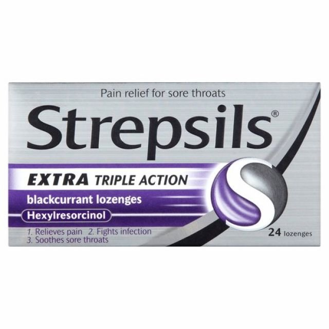 Strepsils Extra Triple Action Blackcurrant 24s