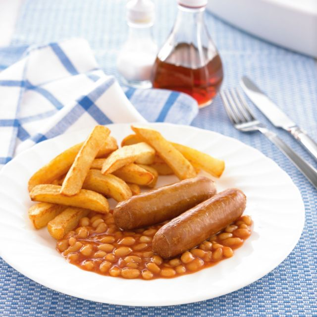 2 Sausages Chips & Beans